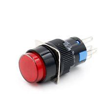 16mm Druckknopf Drucktaster taster Runde Cap LED Rot Licht AC 220V SPDT 5Pin