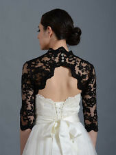 Black Lace Satin Long Sleeve Bolero Shrug Jacket Stole Wedding Prom Party Dress