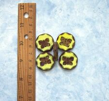 2pcs 26mm YELLOW BUTTERFLY PICASSO CHUNKY Table Cut Coin Czech Glass Beads
