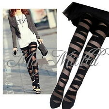 Womens Sexy Pantyhose Black Ripped Stretch Tights  Mock Stocking New W