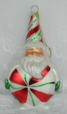 Fun Santa Candy Red Green White Peppermint Blown Glass Christmas Tree Ornament