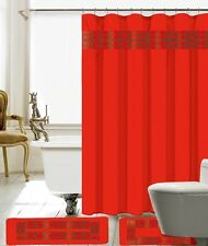 15 Piece Charlton Embroidery Banded Shower Curtain Bath Set 100% polyester Red )