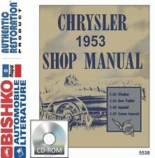 1953 Chrysler Imperial New Yorker Shop Service Repair Manual CD OEM Guide