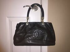 Authentic Medium Chanel Leather Tote Handbag- Black