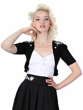 Collectif Evelyn Bolero Embroidery 1950's Style Medium Size 12 Black Box1310 M