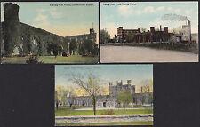 3-Lansing-Kansas-State Prison-Leavenworth-Antique Postcard Lot