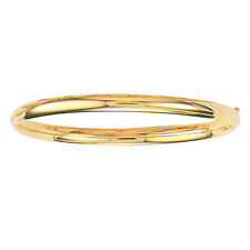 "10k Yellow Gold Shiny Bangle  Hinged Bracelet 5mm, 3/16"" 4 grams 7"" Inch 316XS"