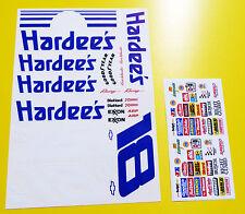"RC nascar ""jours de tonnerre"" HARDEE'S autocollants stickers TAMIYA XRAY TC5 s18 Kyosho"