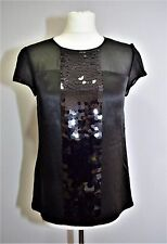 ANN TAYLOR SILK SATIN BLOUSE MESH TOP SEQUINNED COCKTAIL EVENING PARTY WEDDING S