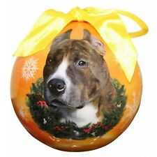 Pit Bull Brindle & White Christmas Ball Ornament
