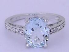 R169 - Genuine 9ct Solid White Gold NATURAL Aquamarine & Diamond Ring size 7.5