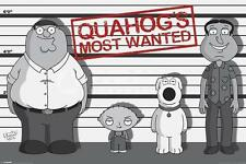 Family Guy Poster Quahog Most Wanted Peter Stewie Brian, 24x36