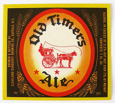 Cleveland Sandusky OLD TIMERS ALE beer label NY 7oz 3.2% - 7%  ABW
