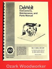 """DEWALT 700 8"""" Radial Arm Saw Owner's Instructions and Parts Manual 1024"""