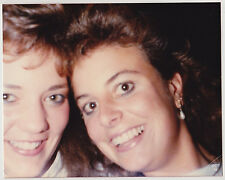 Vintage 80s PHOTO Pair Young Women Girls Close Up Faces