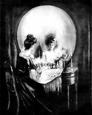 Gilbert Print ALL IS VANITY c19th Victorian Lady Dressing Mirror Image in Skull