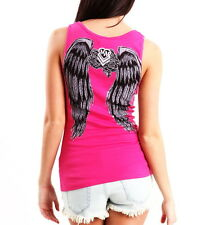 METAL MULISHA Pink Decay Tattoo Angel Wing Corset Versatile Urban Rose Tank Top