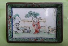 Chinese Canton enamel dish - with a handpainted figure in a garden