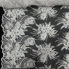 "White Bridal Celosia floral Lace Sequins Beaded Scallop Fabric for Dress 52"" BTY"
