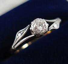 Art Nouveau Style 18ct Gold Diamond Solitaire Ring.