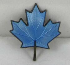 VTG Aksel Holmsen Blue Enamel Guilloche Sterling Silver Maple Leaf Pin Brooch