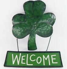"""Irish Lucky Shamrock Welcome Metal Sign St. Patrick's Day Green 9.5"""" X 12.5"""""""