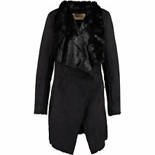 NEW Giacomo black coat, faux suede and lovely fur inside L RRP £175