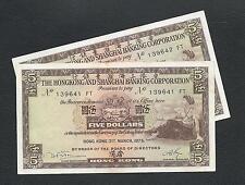 CHINA / 2 x 1975 Hong Kong & Shanghai HSBC 5 Dollars Consecutive # Uncirculated