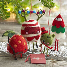 NWT Crate & Barrel Andrew Bannecker Felt Candy Creature Set of 4 Xmas Ornaments