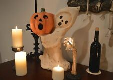 Bethany Lowe Primitive Halloween Ghost & Jack O'Lantern Paper Mache Statue NWT