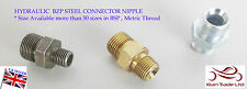 M14x1.5 to M12x1.5 Male Straight Hydraulic Nipple equal fitting union Pneumatics