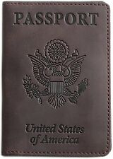 Shvigel Passport Holder Cover and Travel Wallet Leather (Brown), New