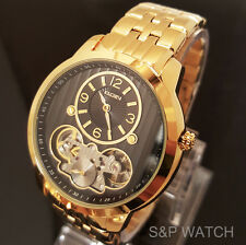 New Men Elgin Elegant Skeleton Automatic Chronograph Metal Band Analog Watch