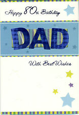 Happy 80th Birthday Dad With Best Wishes Card. Cut Out Design.