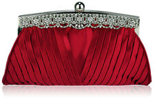 Red Satin Crystal Trimmed Wedding Prom Party Evening Clutch Bag