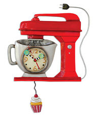 MICHELLE ALLEN Designs WALL CLOCK Decor RED CAKE MIXER Swing Pendulum CUPCAKE