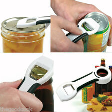 New 4 in 1 Handy Can Bottle Canning Lid Pop Beer Tab Opener  Comfort Grip  White