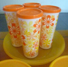 Tupperware Free Shipping New 4 Tumblers with lids. Printed desing. 470 ml e.o.