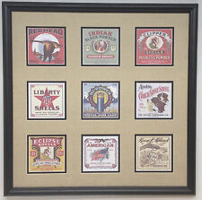 Indian, Liberty, Red Head etc old shotgun shell boxes replica framed display