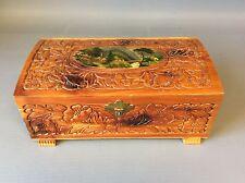 Vintage Hinged Carved Footed Wood Trinket Jewelry Box w/ Mirror