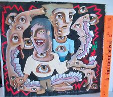 LP17 (F6) Unusual Outsider Art Painting on Canvas Eyes Teeth Douglas Knight