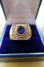Mens 18ct Gold Ring set with Blue Saphire & Diamonds 15 grams