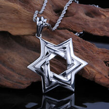 Vintage Stainless Steel Biker Gothic The star of David Pendant 22''  Chain