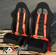 UNIVERSAL RECLINABLE BLACK CLOTH RACING SEAT+SLIDERS+RED 4 POINT HARNESS BELT
