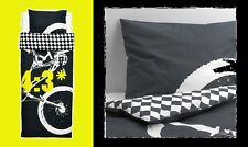 IKEA Lackert BMX Bike RACE Twin Duvet Cover/Pillowcase Black LÄCKERT Gray Check