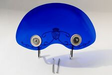 Lambretta Series 1 & 2 Biemme Flyscreen + Fitting Kit BLUE Screen with Scrolls