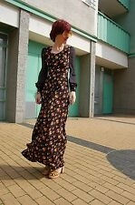 Damen langes Kleid Blumen schwarz long dress flowers black 70er True VINTAGE 70s