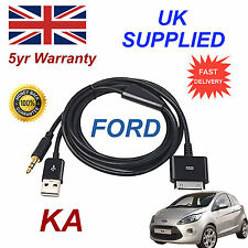 FORD KA 1529487 For Apple 3GS 4 4S iPhone iPod USB & 3.5mm Aux Cable black