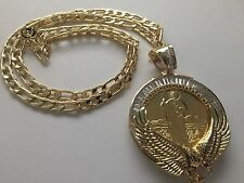St Jude and Our Lady of Guadalupe Gold Plated Pendant and Necklace Eagle Shinny
