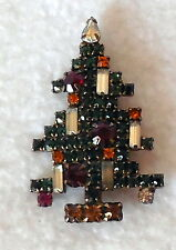 WEISS CHRISTMAS TREE BROOCH PIN multi-color rhinestones prong set gold tone